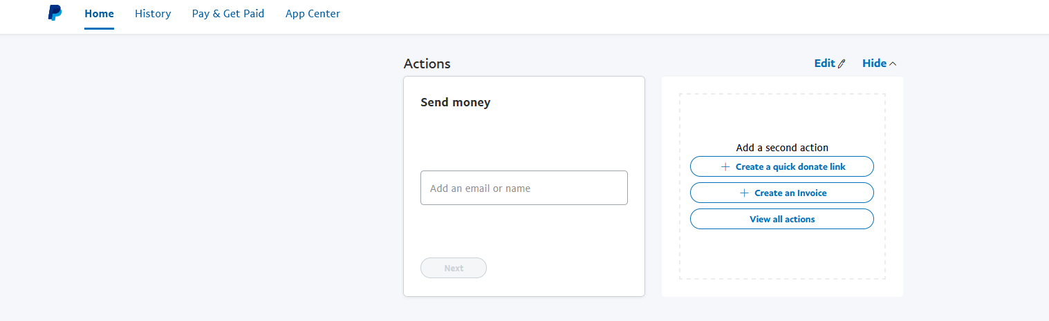 PayPal 2021 user interface, missing insights