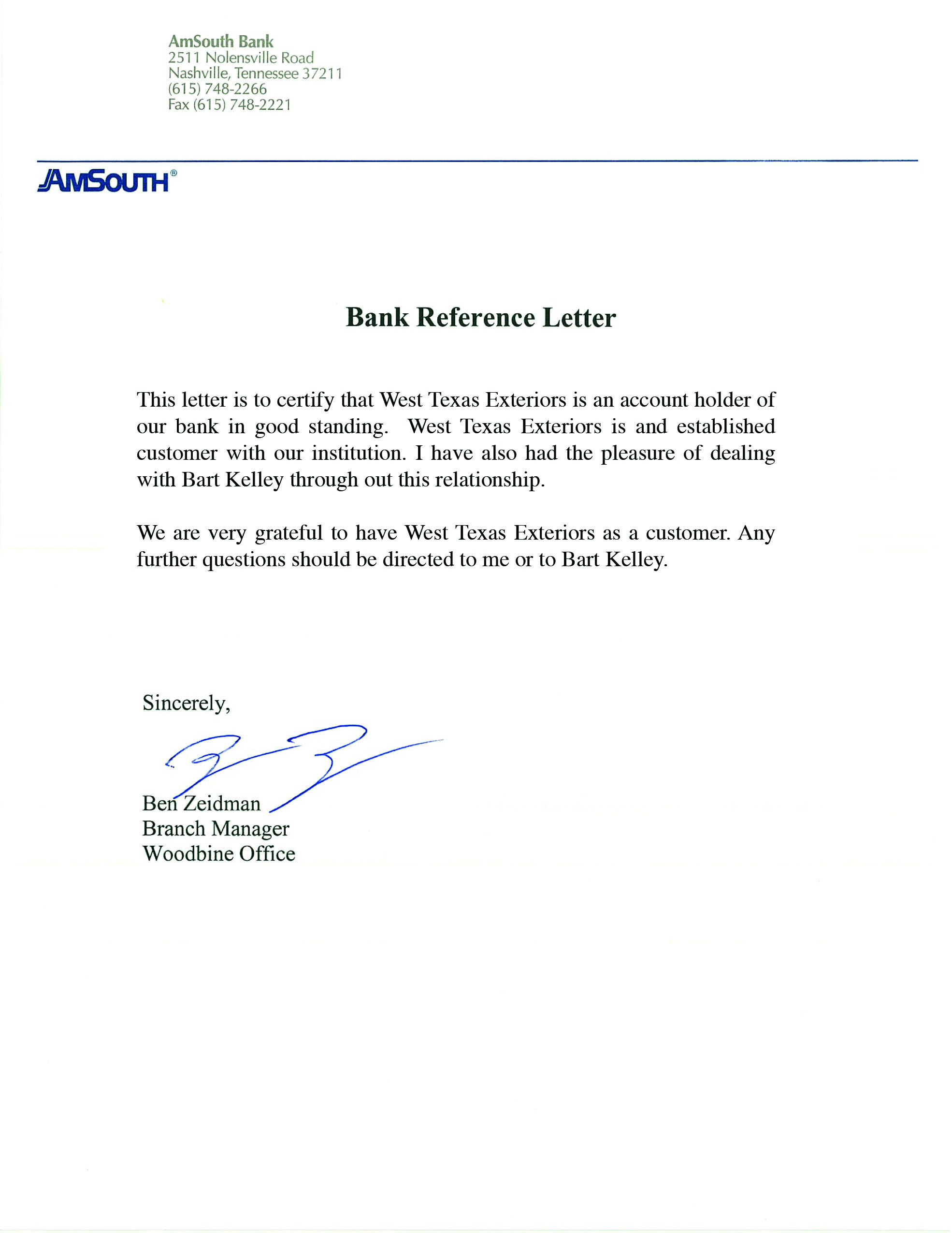 Bank Reference Letter Template Free