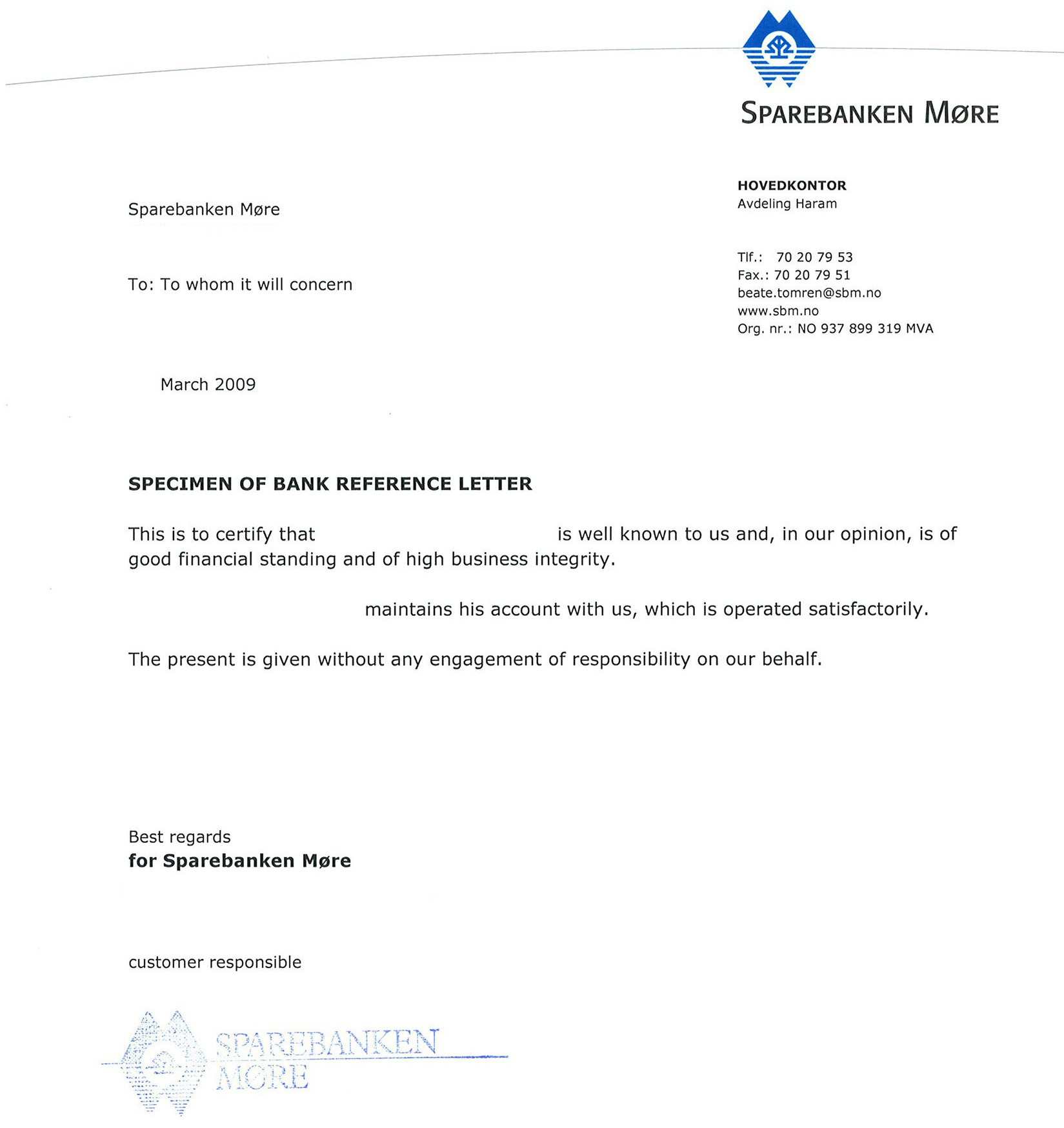 bankers reference letter